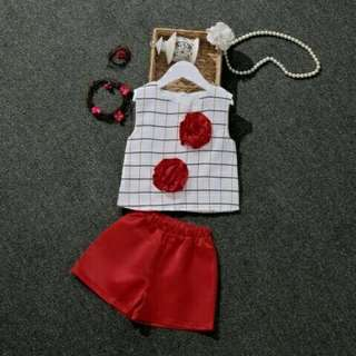 DC LO- STELAN SQUARE KIDS RED @48 Bahan baju spandex + clana babyteri fit 3-5th