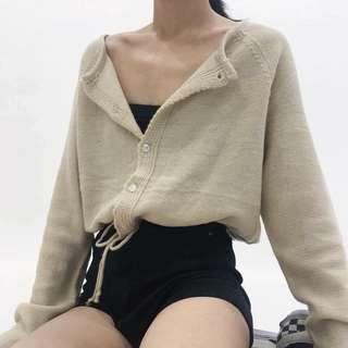 iDid 米色束口短版開襟針織衫