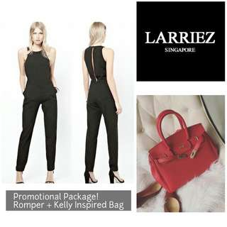 Kelly Inspired Red Bag + Black Romper Set