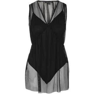[全新] TopShop Tulle Overlay Bodysuit 黑色個性連身Bodysuit
