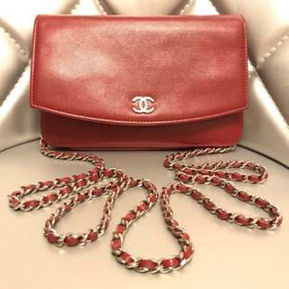 Chanel Sevruga Wallet On Chain WOC Red Preloved & 💯 Authentic‼️