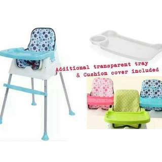 Multifunction 3-in-1 Baby Dining Chair / High Chair / Booster *FREE CUSHION+TRAY !