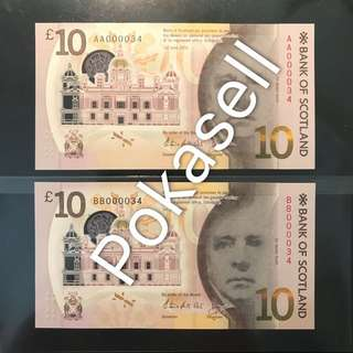 ⭐️ Super Rare Invincible Matching Pair! 2016 Bank Of Scotland £10 Pounds Polymer, Invincible Matching Double Prefix AA First Prefix AA 000034 & BB 000034 Gem 💎UNC. AA Prefix With Status - Can Send For PMG Grading For Charity Auction Pedigree! 無敵雙雙對對、獨一無二