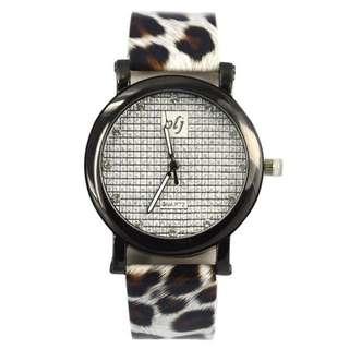 PO 2minggu Jam tangan PU motif leopard