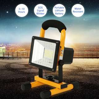 OSJ 30W Rechargeable Portable 10-Hour LED Work Flood Light 200W Waterproof 3 Brightness 1 Emergency Red/Blue Blinker USB Charger *NEW*