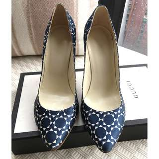 Patrizia Pepe pattern printed satin heel pumps shoes ~Made in Italy @Size 37