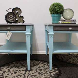 TWO TONED END TABLES
