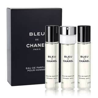CHANEL BLEU DE CHANEL EDP TRAVEL SPRAY REFILLS FOR MEN (3 x 20ml) Eau de Parfum
