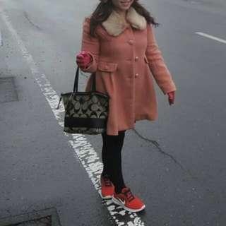 日本PARK粉紅毛呢長版外套大衣L/XL