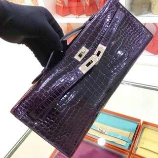 超美的 Hermes Kelly cut 3w 星空紫鱷魚🐊專櫃二十多萬,這只好價秒殺👋現貨