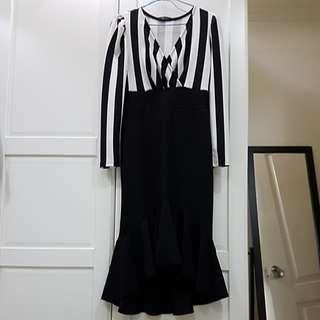 🚚 條紋魚尾洋裝
