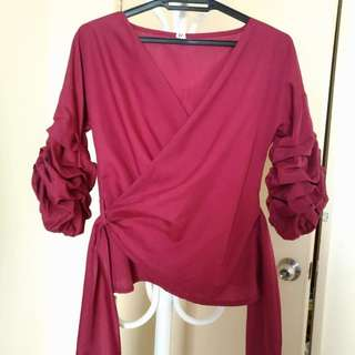 Kimono Wrap Top with Puffy Sleeve