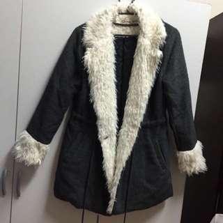 🚚 全新 灰色毛領毛呢保暖厚長版大衣外套 原價3680