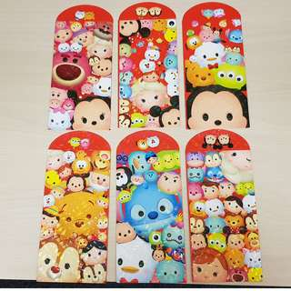 Disney Tsum Tsum CNY Long Ang Pao Red Packet (6 Pieces in a pack) - Package 4