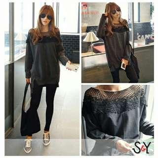 Blouse wanita Jumbo Lizzy Baju korea big size Blouse brukat hitam lace