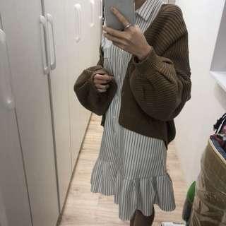 條紋襯衫魚尾洋裝