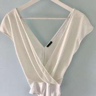 White plunge bodysuit