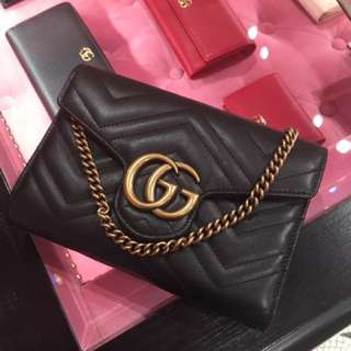 Gucci gg marmont misura 專店代購 斜咩袋 黑色 chain on wallet