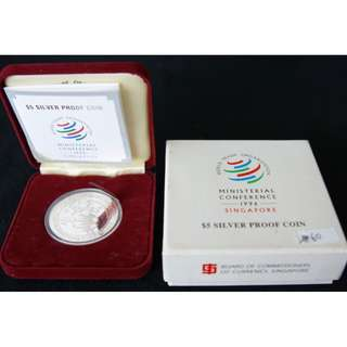 1996 Singapore Ministerial Conference World Trade Organization $5 Silver Proof Coin (MINT)