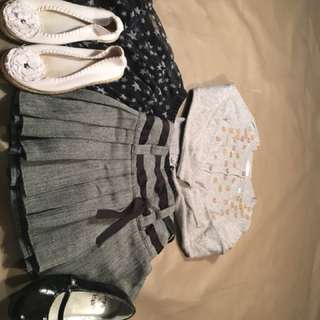Girls 5/6 lot including sweater two skirts and 2 pairs of shoes