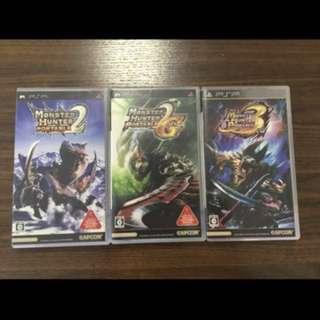 PSP Game - Monster Hunter 2, 2G, 3 (Used)