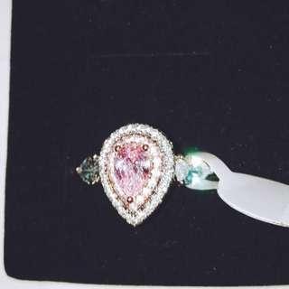 實拍镀18k金鑲彩鑽粉鑽 鑽石戒指💍含運