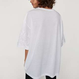 正品 ZARA 白色寬鬆版刺繡T恤