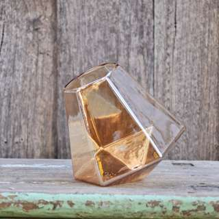 Amber Glass Pearlescent Diamond Geometric Vase