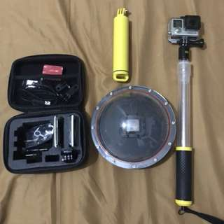Gopro hero 4 silver with underwater dome (see attached pic), carrying case, floater stick