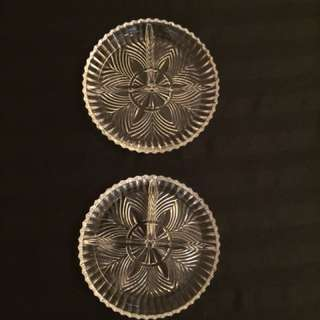 Pair of Matching Cut Glass Divided Relish Dishes