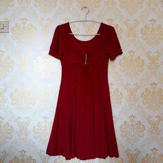 Midi dress maroon