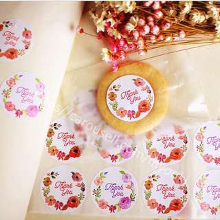 CUSTOMIZE STICKERS Printing / Thank You Floral Stickers ( 12 Stickers )