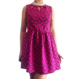 Fuchsia Damask Dress