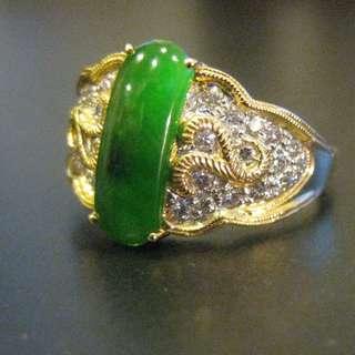 18K YG Imperial Jade and Diamond Ring