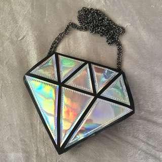 Silver holographic diamond bag