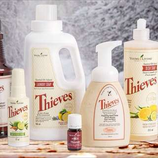 Young living Thieves essential oils ; thieves laundry soap; thieves mouthwash; household cleaner; thieves bar soap; hand wash ;