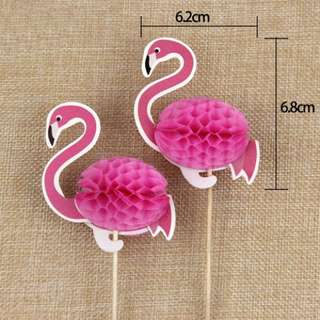 Flamingo Cake Topper 2pcs Set  ( preorder )