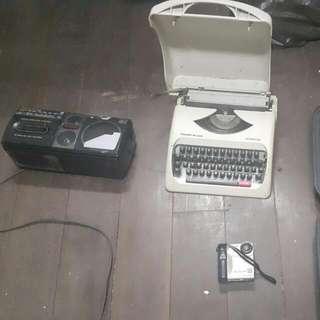 Antique Typewriter Radio Player VHS Video Camera