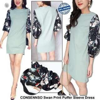 CONSENNSO Swan Print Puffer Sleeve Dress