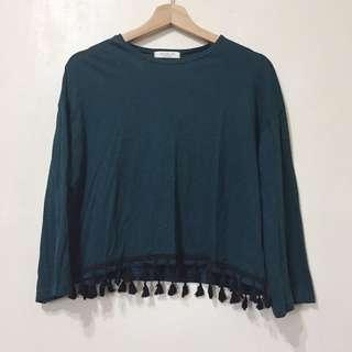 正韓 藍綠色純棉流蘇造型上衣