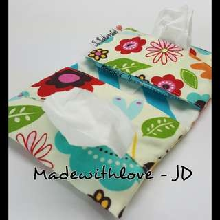 Double pocket tissue pouch with name tag