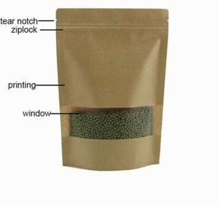 Kraft paper bag. Goodie bag. See thru