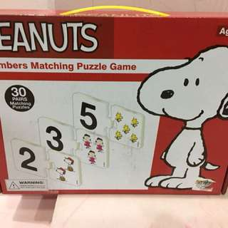 peanuts numbers matching puzzle game