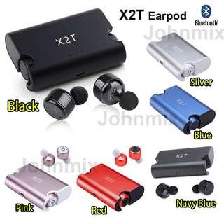 (包順豐) X2T 藍芽雙耳機連充電盒套裝 Wireless Bluetooth Earbuds Sports Headphone Noise Cancelling Stereo Bluetooth V4.2 for ipod Wireless Earbuds Stereo Surround Sound Headset Earphone