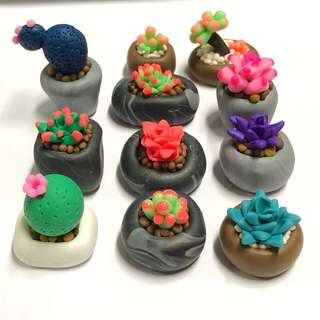 Polymer clay miniature plants, cactus, flowers and leaves