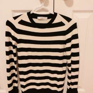Zara striped sweater with sleeve detail