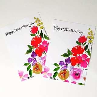 Handpainted Watercolour Chinese New Year Card