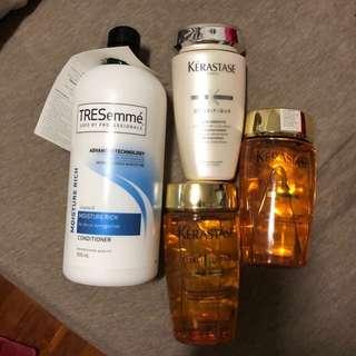 Kerastase shampoo elixir ultime and tresemme moisture rich conditioner
