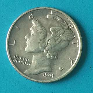 USA silver coin one dime Year 1941 sale 30%