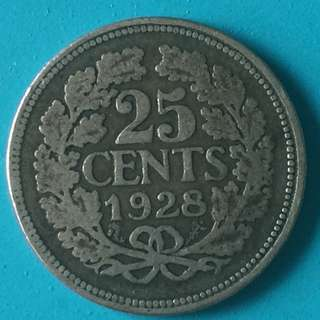 Netherlands silver coin 25 Cents Year 1928 sale 30%